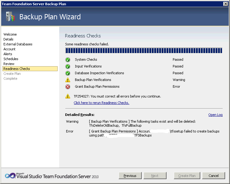 Required permission for TFS 2010 Backup Plan | Into ALM with