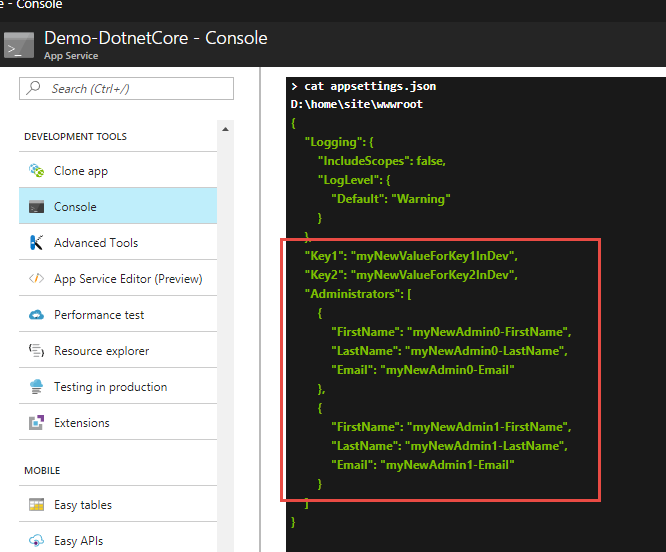 Update appsettings json at deploy time with VSTS Release