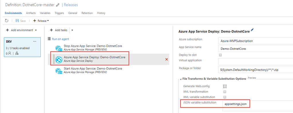 Update appsettings json at deploy time with VSTS Release Management